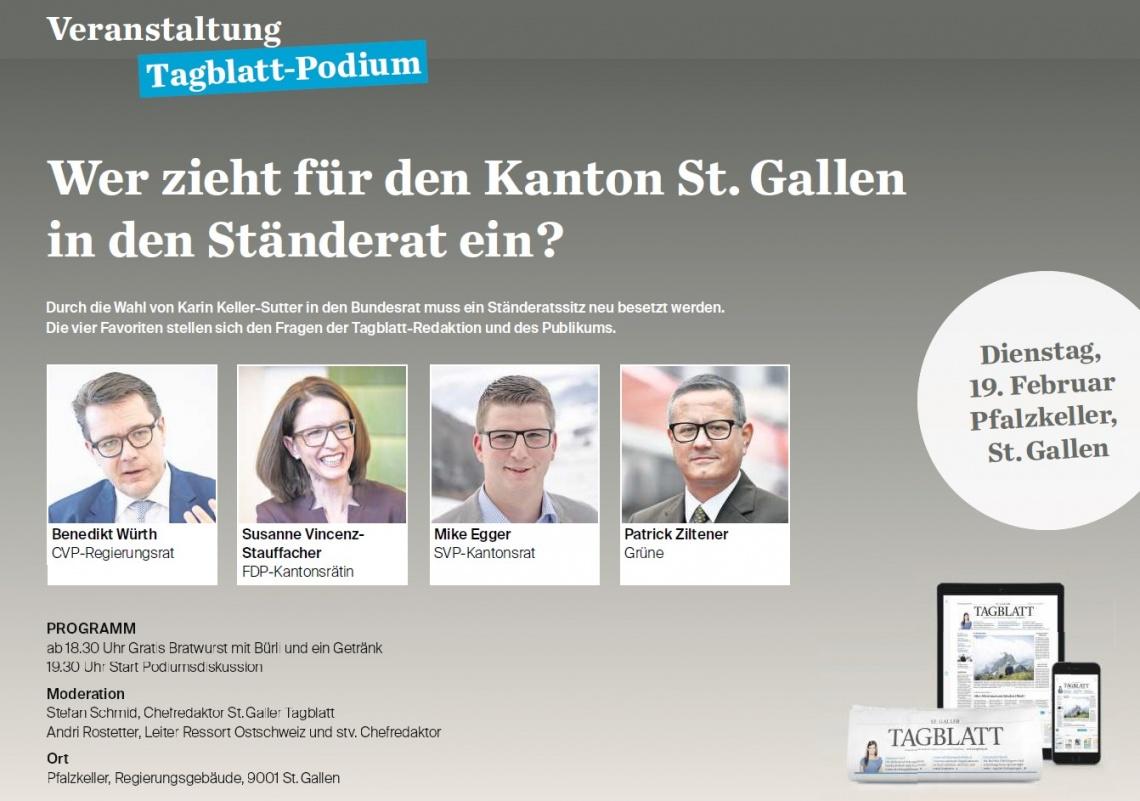 Tagblatt-Podium mit unserem Mike Egger zu den Ständeratswahlen 2019 (Samstag, 16.02.2019)