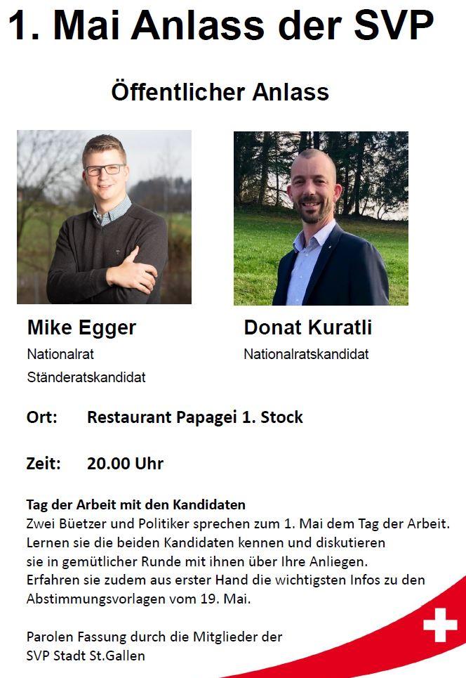 1. Mai öffentlicher Anlass mit Ständerats-/Nationalratskandidat Mike Egger und Nationalratskandidat Donat Kuratli in St Gallen (Dienstag, 23.04.2019)