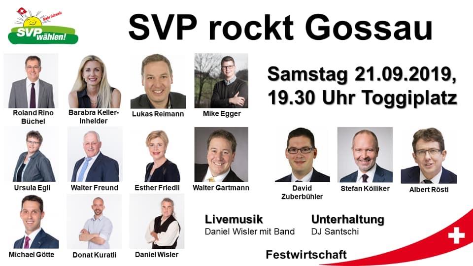 Medienmitteilung SVP Gossau-Arnegg - SVP rockt Gossau (Dienstag, 17.09.2019)