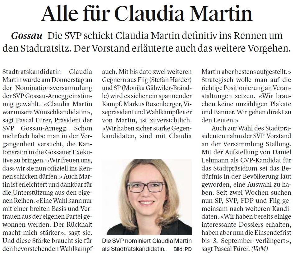 Alle für Claudia Martin (Samstag, 26.08.2017)